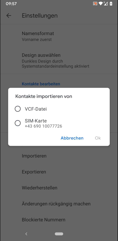 Schritt 5: Wähle eine Quelle wie VCF-Datei oder SIM-Karte