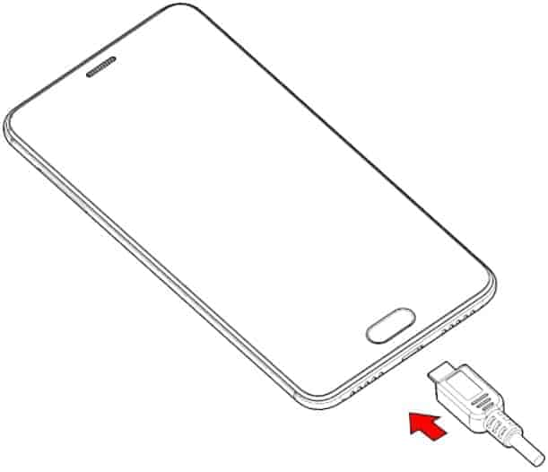 This picture shows how to plug in the USB cable to charge your phone