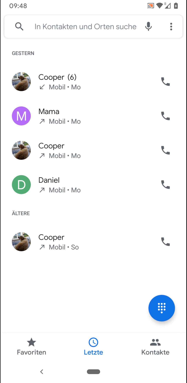 Schritt 2: Tippe auf einen Anruf eines Kontaktes