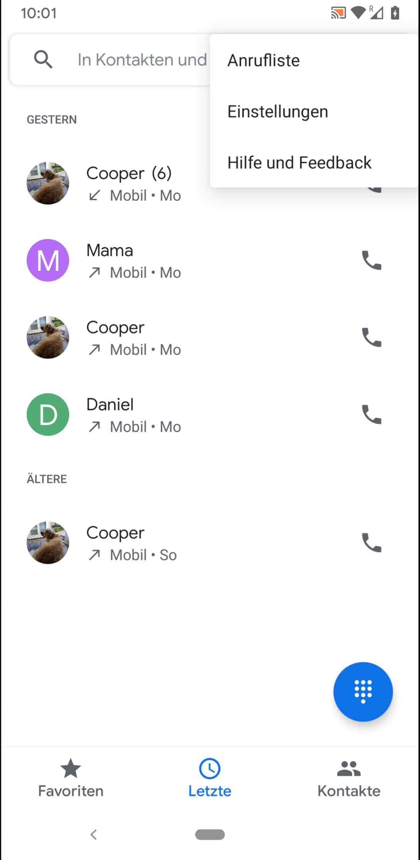 Schritt 3: Tippe auf Anrufliste