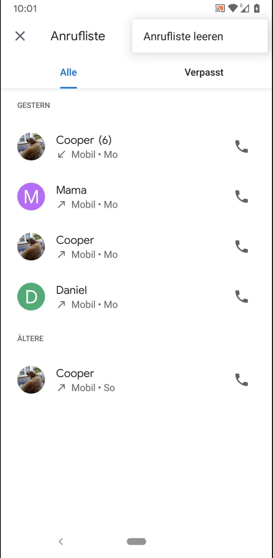 Schritt 5: Tippe auf Anrufliste leeren