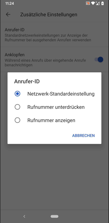 Schritt 7: Wähle zwischen Netzwerk-Standardeinstellung, Rufnummer unterdrücken oder Rufnummer anzeigen