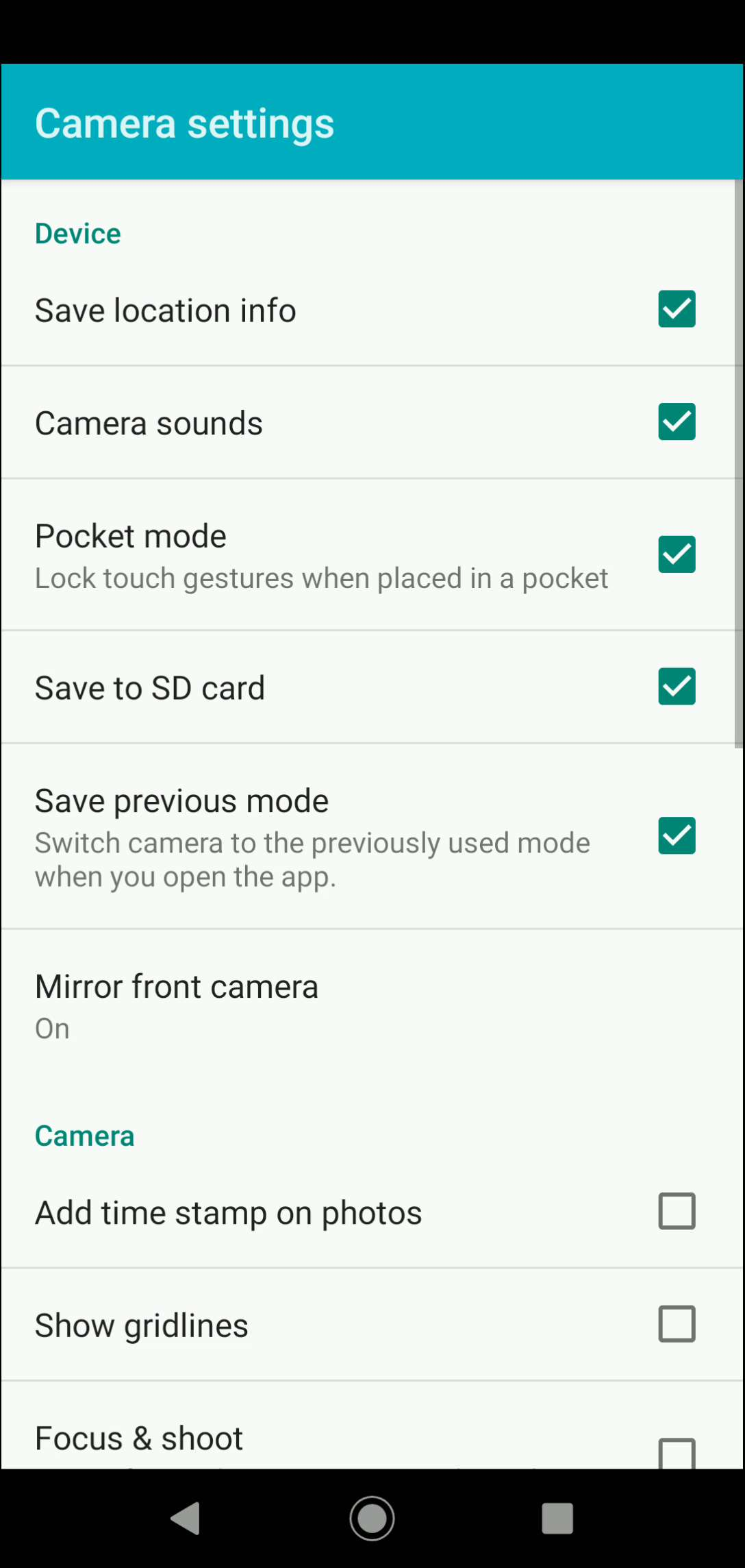 Step 4: Activate or deactivate Camera sounds