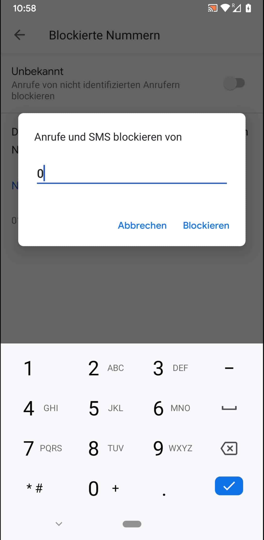 Schritt 6: Gebe die zu blockierende Telefonnummer ein