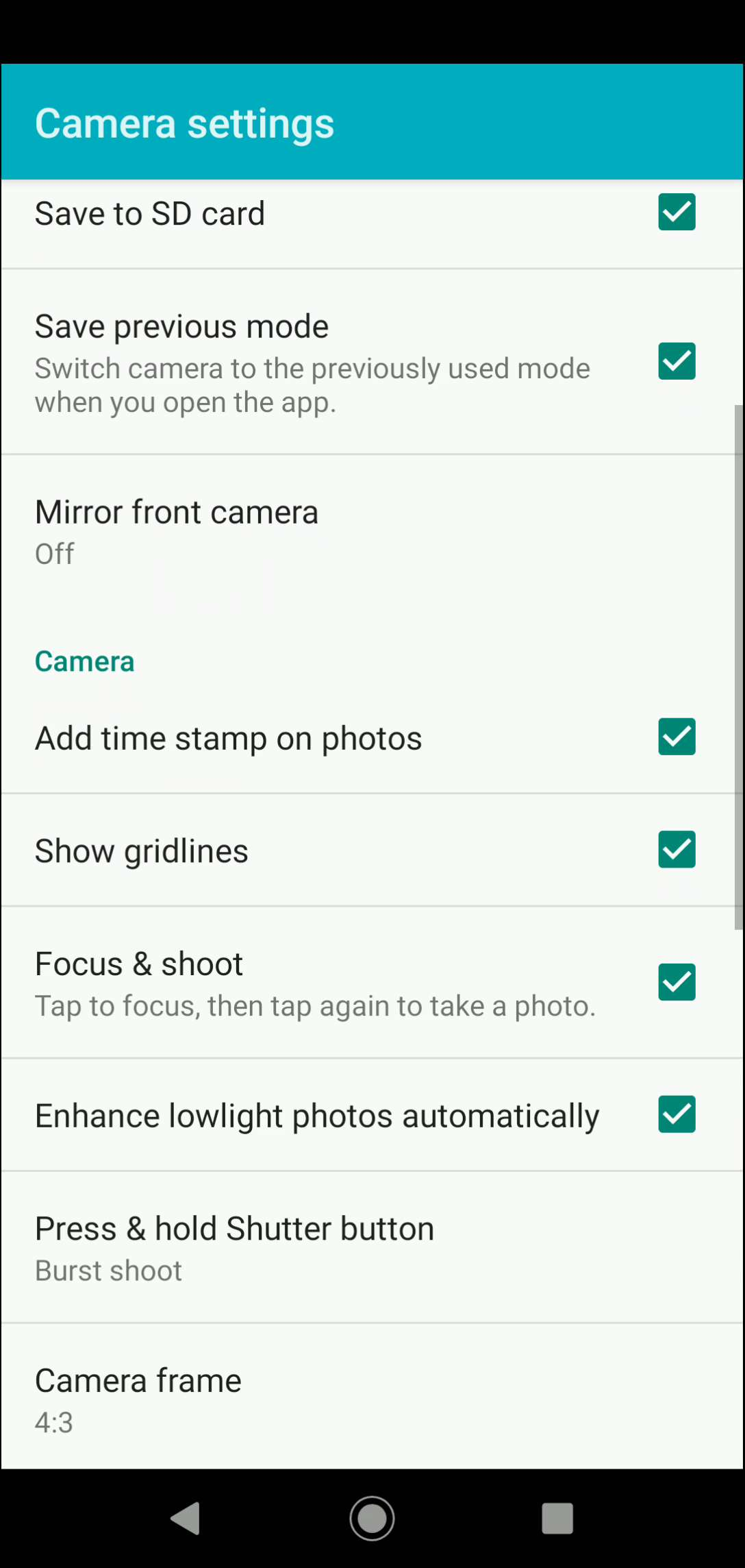 Step 4: Activate or deactivate Enhance low light photos automatically