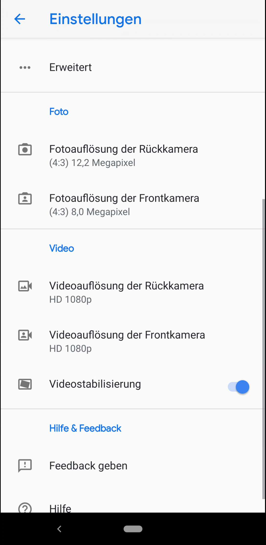 Schritt 4: Aktiviere oder deaktiviere Videostabilisierung