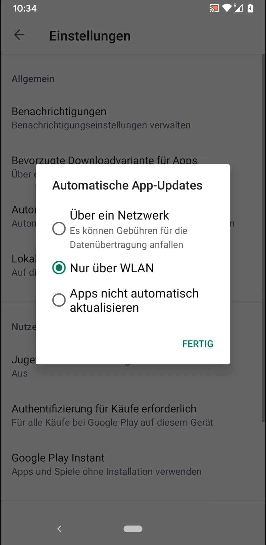Schritt 5: Wähle zwischen Über ein Netzwerk, Nur über WLAN oder Apps nicht automatisch aktualisieren