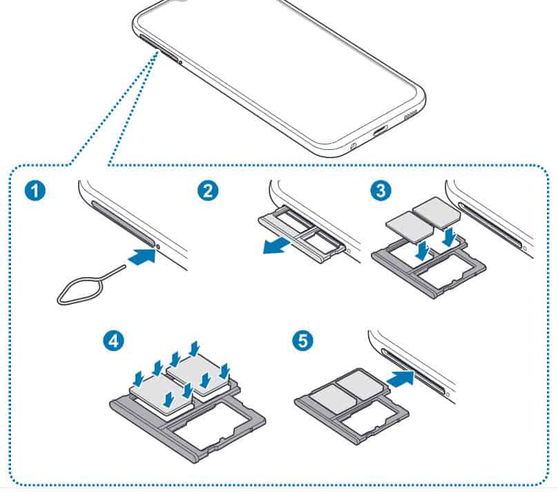Anleitung wie man die SIM-Karte oder Speicherkarte beim Samsung Galaxy A40 einlegt