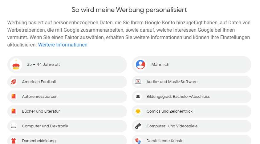 Ansicht der Kategorien der personalisierten Werbung von Google