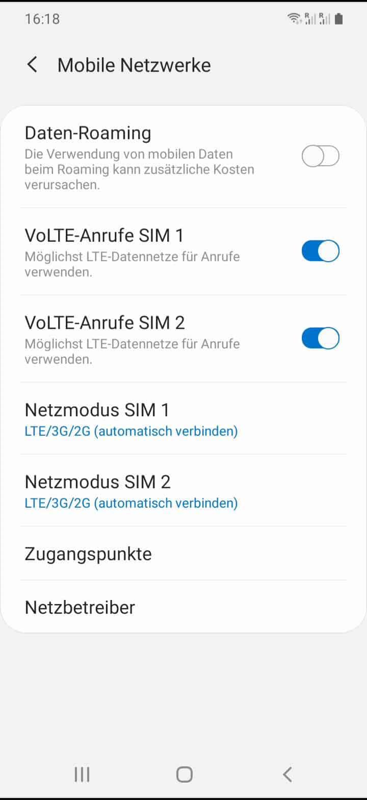 Schritt 4: Aktiviere oder deaktiviere VoLTE-Anrufe
