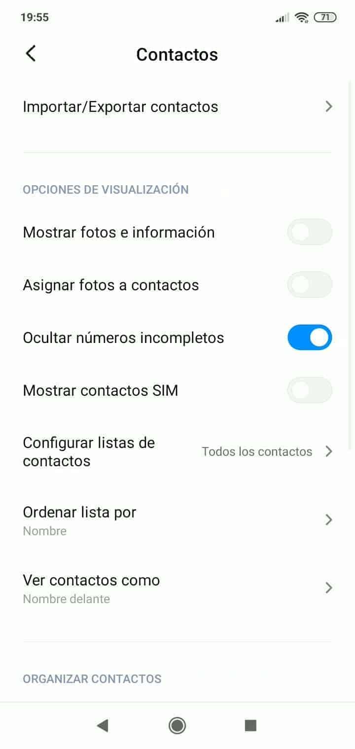 Paso 4: Activa o desactiva Mostrar contactos SIM