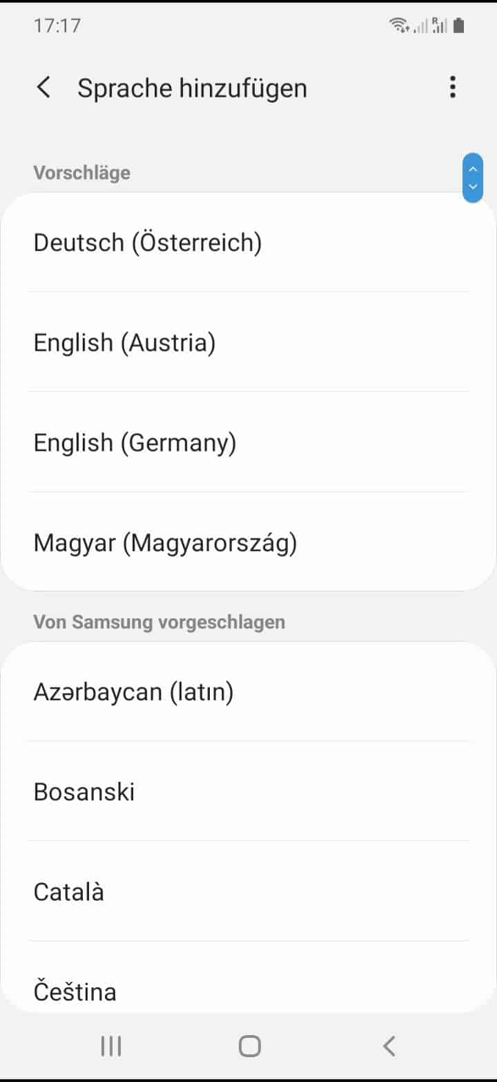 Schritt 6: Wähle eine Sprache aus der Liste