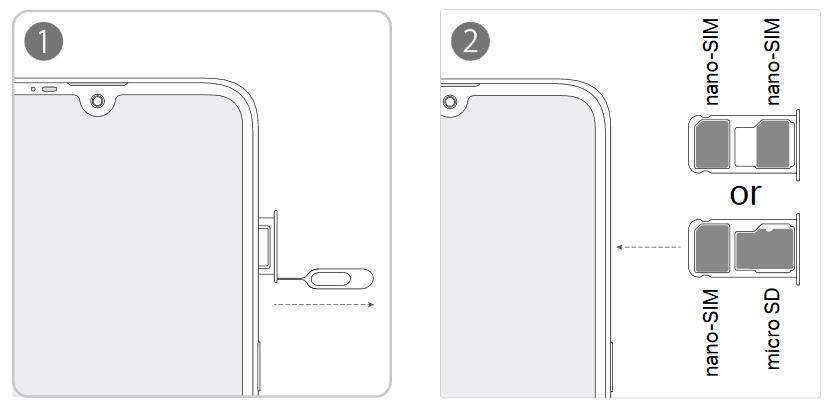 Anleitung wie man die SIM-Karte oder Speicherkarte beim Xiaomi Redmi Note 8 Pro einlegen kann