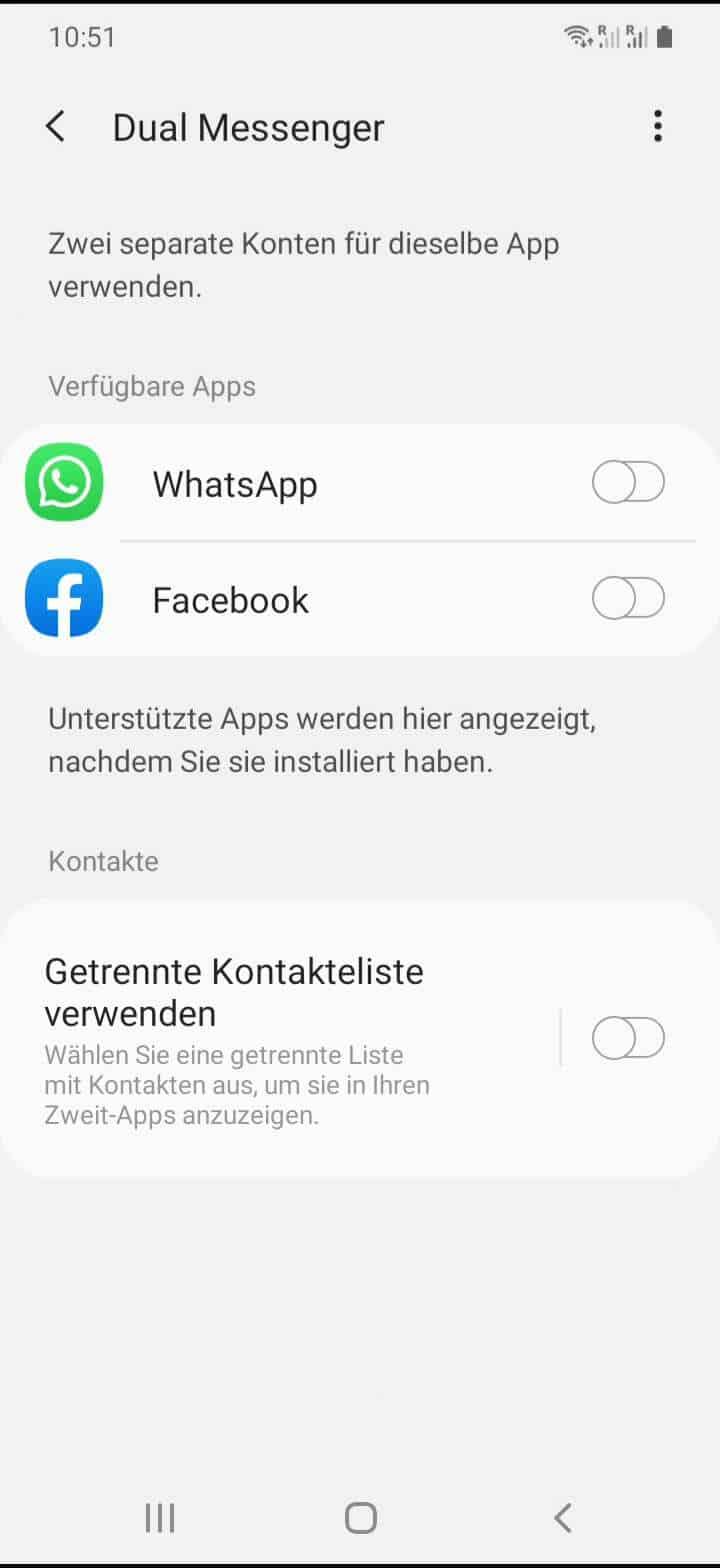 Schritt 4: Aktiviere oder deaktiviere den gewünschten Messenger