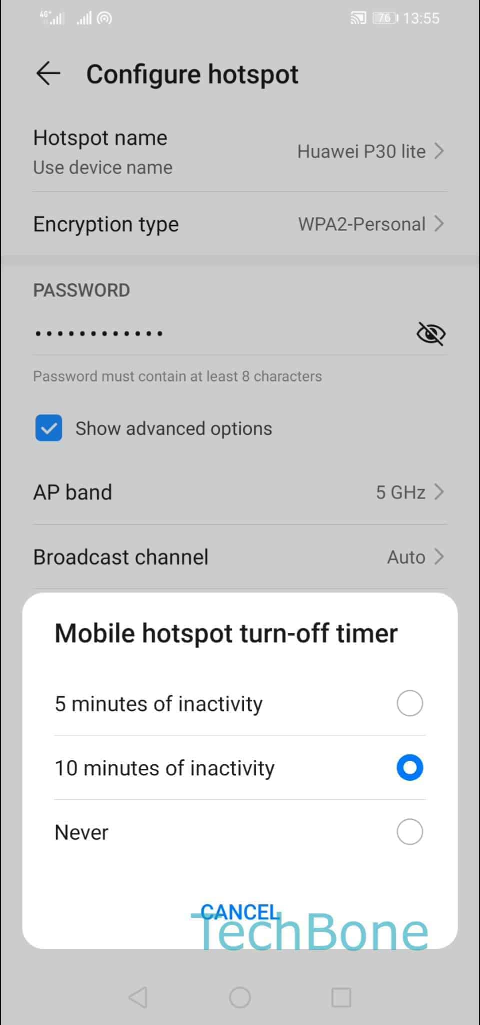 Step 7: Choose 5 / 10 minutes of inactivity or Never