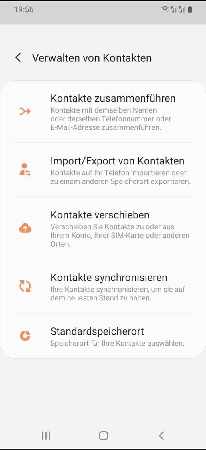 Schritt 4: Tippe auf Import/Export von Kontakten